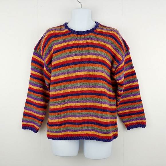 2c772566d9160 Kindred Spirit Other - Vintage Colorful Striped 100% Wool Knit Sweater